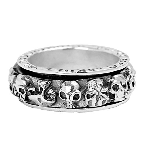 Bishilin Men's Ring Silver Plated Skull Partner Rings Silver Size 10 by Bishilin