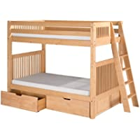 Camaflexi Mission Style Solid Wood Bunk Bed with Drawers, Twin-Over-Twin, End Angled Ladder, Natural