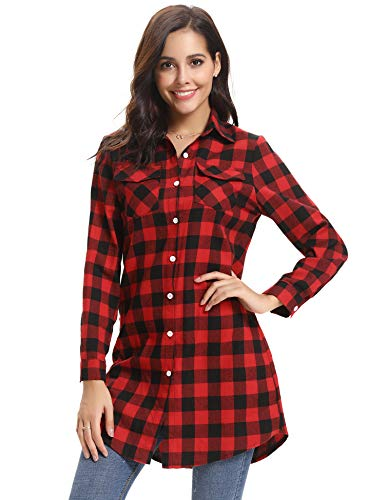 Plaid Flannel Womens (Abollria Women's Roll up Long Sleeve Boyfriend Button Down Plaid Flannel Shirt (Long Red,S)