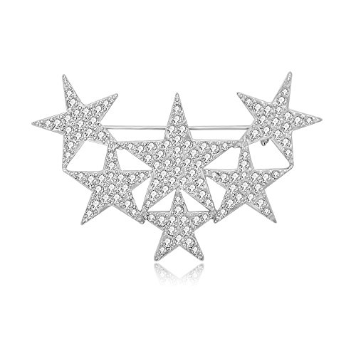 MANZHEN Exquisite Gold Silver Crystal Rhinestone Star Brooch Pin (Silver)