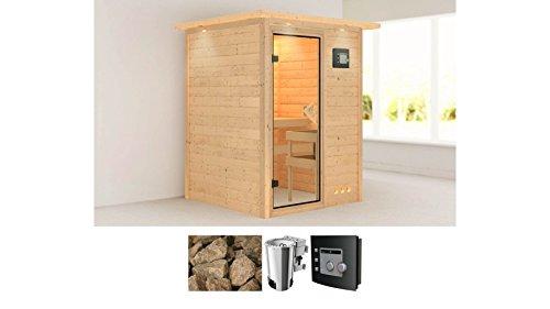 KARIBU Sauna »Nadja« Fronteinstieg, 144/144/198cm, 38 mm, 3,6-KW Plug&Play-Bio-Kombiofen 3,6-KW Plug & Play Bio-Kombiofen