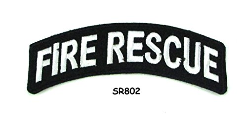 Fire Rescue White on Black Small Rocker Iron on Patches for Biker Vest and Jacket