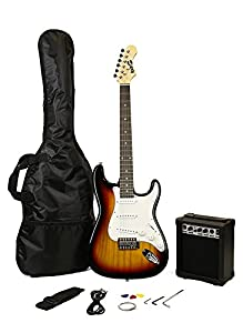 rockjam full size electric guitar superkit with amp strings strap case and cable sunburst. Black Bedroom Furniture Sets. Home Design Ideas