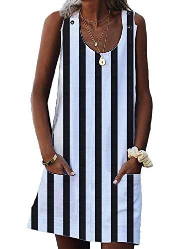 - Asvivid Womens Striped Sundress Summer Sleeveless Crewneck Casual Loose Shift Daily Boho Pockets Ladies Mini Short Dresses M White