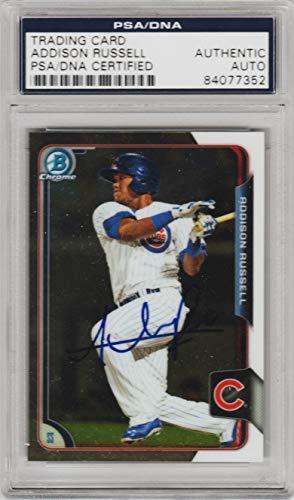 2015 Topps Chrome Baseball - Addison Russell Signed Baseball Card 2015 Bowman Chrome Cubs PSA Authentic