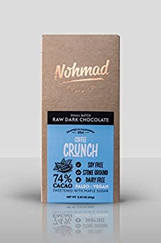 Nohmad Snack Co - Raw Dark Chocolate - Coffee Crunch - 74% Cacao - Paleo & Vegan friendly (2 pack)