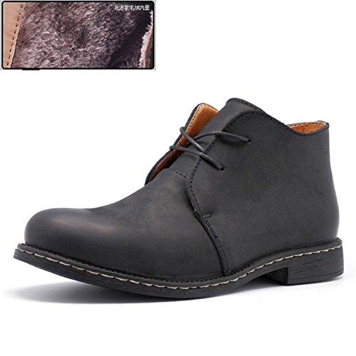 Rainstar Cordones Para Hombre Chukka Botines Zapatos De Trabajo Casual Bota De Tacón Alto Negro Con Forro Polar