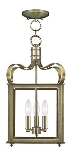 (Antique Brass Garfield 3 Light Convertible Pendant/Semi-Flush Ceiling Fixture)