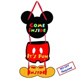 Threemart Mickey Mouse Party Supplies Come Inside It's Fun Inside 1st Birthday Welcome Hanger Kids Garland Banner For Baby Shower Parties Decoration
