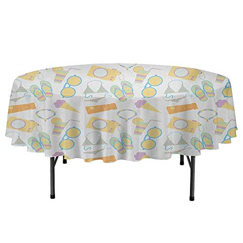 Summer Easy to Care for Leakproof and Durable Round tablecloths Beach Themed Collection Pastel Toned Flip Flops Bikini Ice Cream Lemonade and Camera Outdoor Picnic D70 Inch Multicolor