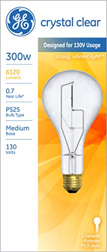GE Lighting 73788 Medium Base General Purpose PS25 Light Bulb, 130-Volt, 266/300-Watt
