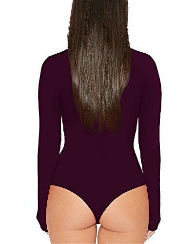 Damen Langarm Rollkragen Body Bodysuit Elastisch Gymnastikanzug Top Overall Leopard Unterwäsche Bodywear Tanz Bodys Fuchsie VUwlTI8