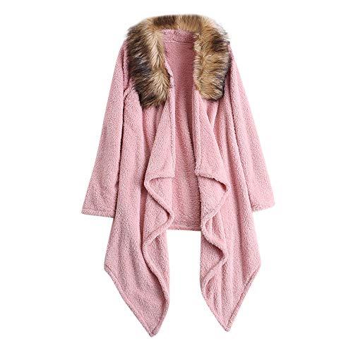 Hunzed women coat Faux Fur Winter Plush Solid Color Warm Large Size Coat (2X-Large, Pink)
