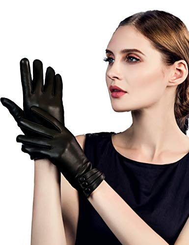 (YISEVEN Women's Touchscreen Lambskin Dress Leather Gloves Buttoned Cuff Wool Lined Luxury Stylish Elegant Warm Fleece Fur Heated Lining Winter Ladies Accessories Driving Xmas Gifts, Black)