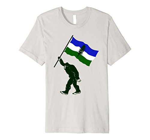 Mens Cascadia Bigfoot with Doug Flag Premium Fitted T-Shirt XL Silver