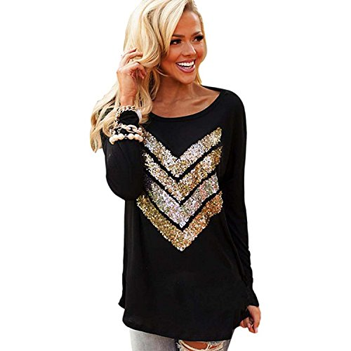Womens Long Sleeve Round Neck Plaid Checked Loose Sparkle Shirt Black/Gold - Black Gold Top And