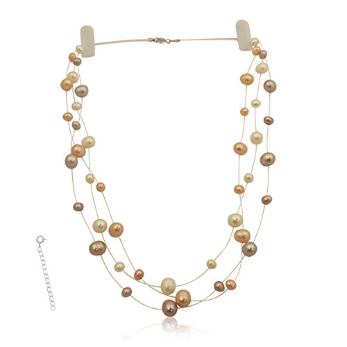 Pearls N Silver Bridal Sterling Silver Cultured Pearl Illusion Necklace Earrings 16'' 18'' inch 3 or 6 strands (Pastels 3 strands 18'' - 20'') by Pearls N Silver (Image #5)