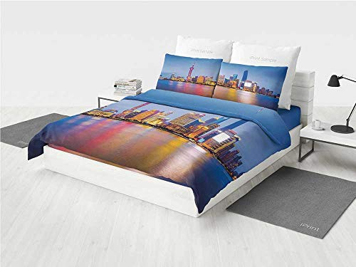 KaithLong Urban Nursery Crib Bedding Set City Skyline of Shanghai China on Huangpu River Dusk Famous Travel Destination Printing Four Pieces of Bedding Set Blue Pink Yellow -
