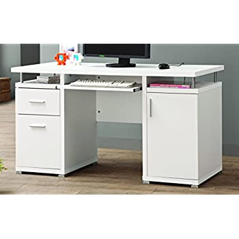 desk home drawers white osaka and contemporary cappuccino desks computer design hutches silver product with metal