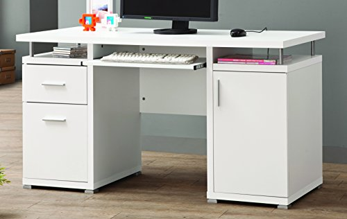 Coaster Home Furnishings  Modern Contemporary 2 Drawer 1 Cabinet Office Desk with Keyboard Tray - White (White Computer Cabinet)
