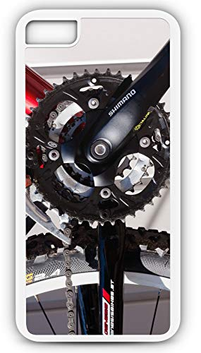 iPhone 8 Case Bottom Bracket Gear Mountain Bike Wheel Customizable by TYD Designs in White Plastic Black Rubber Tough Case