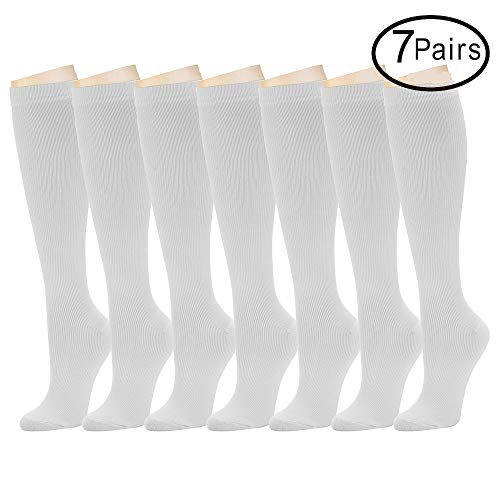 Diabetic Compression Moderate Support - 7 Pairs Compression Socks for Women and Men - Best Athletic, Edema, Diabetic,Varicose Veins,Maternity,Travel,Flight Socks,Shin Splints - Below Knee High (Large/X-Large, White)