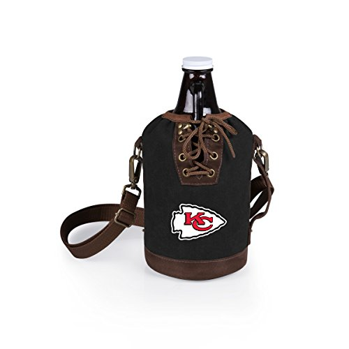 PICNIC TIME NFL Kansas City Chiefs Canvas Lace-up Growler Tote with 64 oz Amber Glass Growler, Black