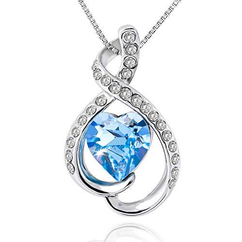 OLYSHE Necklace Pendant for Women Swarovski Jewelry Blue Love Heart Christmas/Anniversary/Birthday Girl Gift