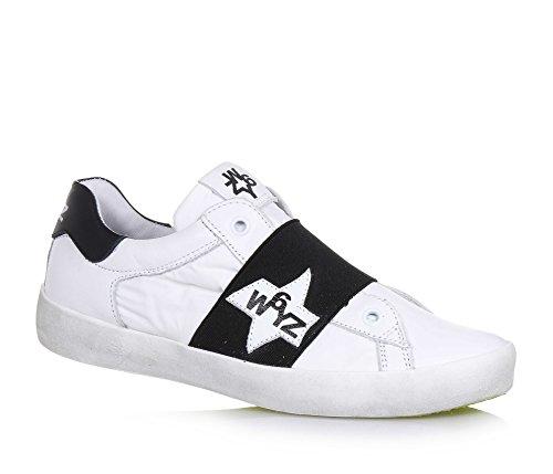 W6YZ - Weißer Schuh aus Leder und Synthetik, schwarzes Band, auf dem Band, auf der Zunge und hinten ein Logo, Jungen