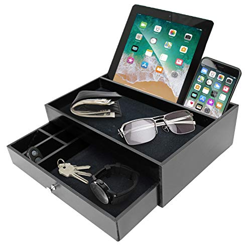 Valet Organizer Key Tray for Men - Nightstand Catchall Tray as Black Wood Mens Jewerly Watch Box Organizer Valet Stand for Entryway or Dresser - Tablet & Cell Phone Charging ()