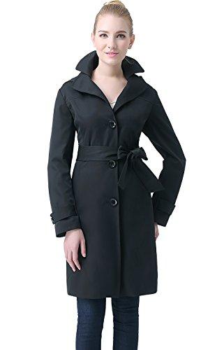 BGSD Women's Kate Double Lapel Hooded Trench Coat - Black M