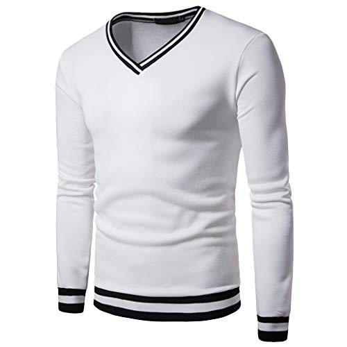 WOCACHI Pullover for Mens, Fashion Men's Autumn Winter Warm Silm Casual Patchwork Long Sleeve Top Blouse Winter Sports Fit Warm Under 5 10 15 Couples Valentine Day St. Patrick's Green Clover ()