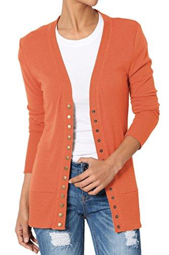 TheMogan Women's Snap Button V-Neck Long Sleeve Knit Cardigan Ash Copper 3XL ()