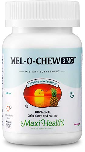 Mel-O-Chew by Maxi Health | High-Potency Kosher Chewable Melatonin - Sleep Aid and Stress Relief | Clinically Proven for Tranquil Sleep | 100 Chewable Tablets - 3MG (Delicious Berry Flavor)