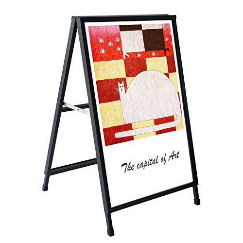 Henzer FAS90 Folding A-Frame Sidewalk Sign Heavy Duty for Outdoor or Indoor Advertisement Use Black Deluxe Power Coated Frosted Surface Two 24x36