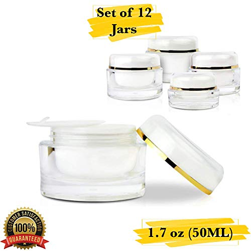 MM Packaging Luxury Cosmetic Jar, Acrylic Round Jars, Refillable Containers, 1.7 oz (50 ml) with Lids. (Set of 12, Gold Trim)