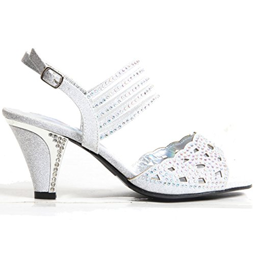 Womens Ladies Sparkling Diamante Block Heel Party Shoes Buckle Up Sandals Silver wGt5YSAlv
