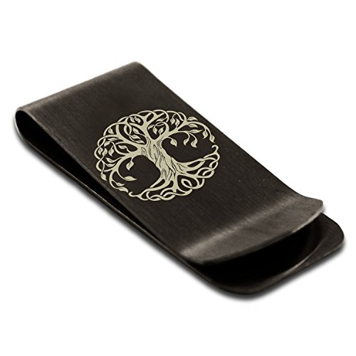 Matte Black Stainless Steel Celtic Knot Tree of Life Symbol Money Clip Credit Card Holder (Celtic Money Clip)