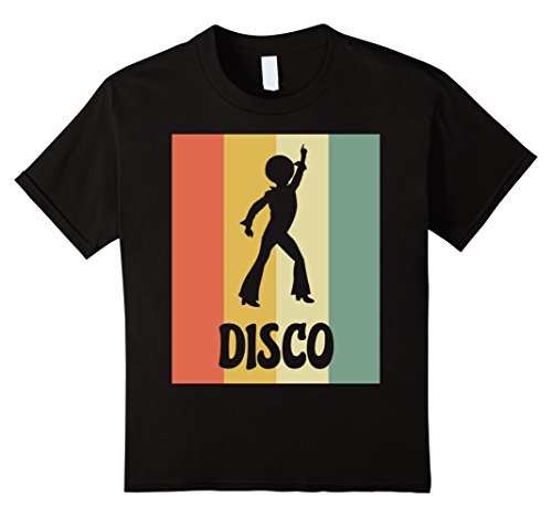 unisex-child Disco Silhouette Shirt - Retro Vintage Classic 8 Black