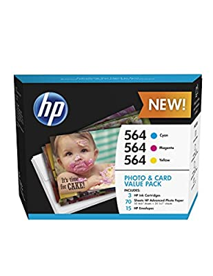HP 564 Cyan, Magenta & Yellow Ink Cartridges with Photo Paper and Cards, 3 pack (J2X80AN)