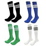 Kids Soccer Socks 4 Pack Boys Girls Cotton Team Socks Teens Children Soccer Socks (Shoe size 8-13 and Ages 4-7, Rainbow3)