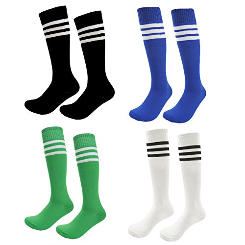 Kids Soccer Socks 4 Pack Boys Girls Cotton Team Socks Teens Children Soccer Socks (Shoe size 8-13 and Ages 4-7, Rainbow3)