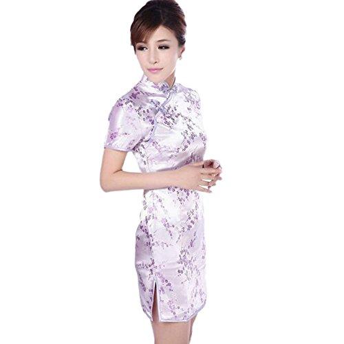 Zhuhaixmy Chinesisch Frauen Festlich Klassik Pflaumenblüte Gedruckt Cheongsam Brokat Kurzarm Qipao Kleid Lila TvuPIR