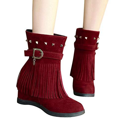 Zipper Con Bola Red Pure Redonda Zapatos Botines Gamuza 2 Bazhahei Cuña Boots Para Punta Zapatillas Mujer Botas Cabeza De Color Ante Pelo wxPpYp