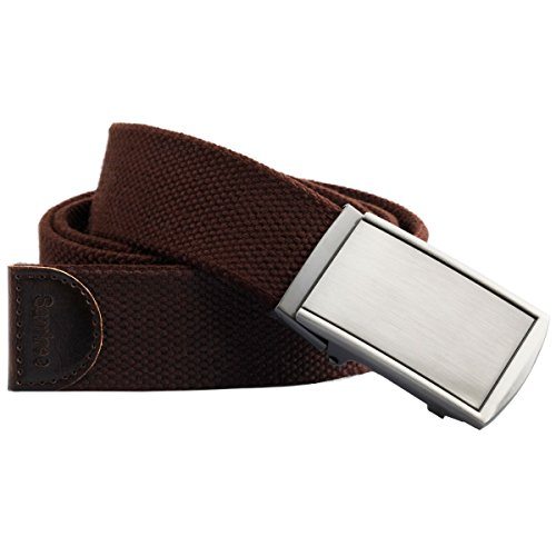 Samtree Canvas Web Belts for Men Womens,Adjustable Military Automatic Buckle Belt(04-Brown)