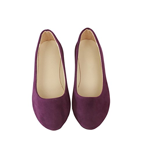 (Stunner Women Cute Slip-On Ballet Shoes Soft Solid Classic Pointed Toe Flats Dark Purple 43)