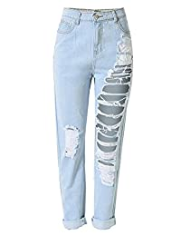 Insun Women's High Waist Cotton Ripped Distressed Jeans