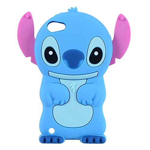 Allsky Case for iPod Touch 6th /5th,Cartoon Soft Silicone Cute 3D Fun Cool Cover,Kawaii Unique Kids Girls Teens Animal Character Rubber Skin Protective Shockproof Funny Cases for Touch 6/5 Blue Stitch (Ipod Touch Disney Cases For Girls)