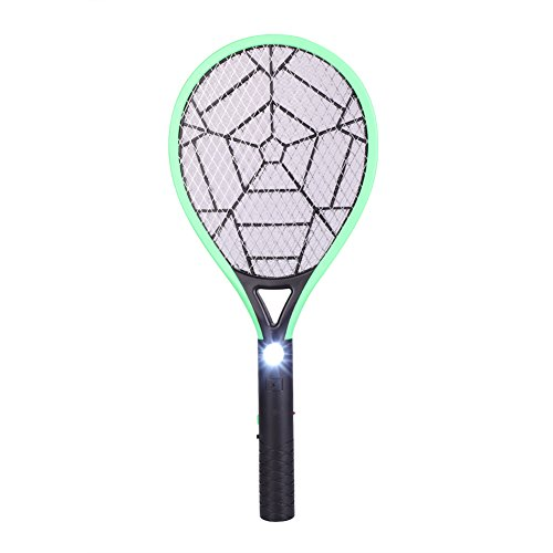 Delaman Bug Zapper Rechargeable Mosquito, Fly Killer and Bug Zapper Racket, 3500V, with LED Light (Color : Green) by Delaman