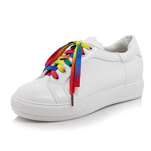 ZHZNVX Zapatos de Mujer PU (Poliuretano) Zapatillas de Deporte de Primavera y Verano Zapatos para Caminar Tacón Plano Punta Redonda Blanco/Rojo / Verde White